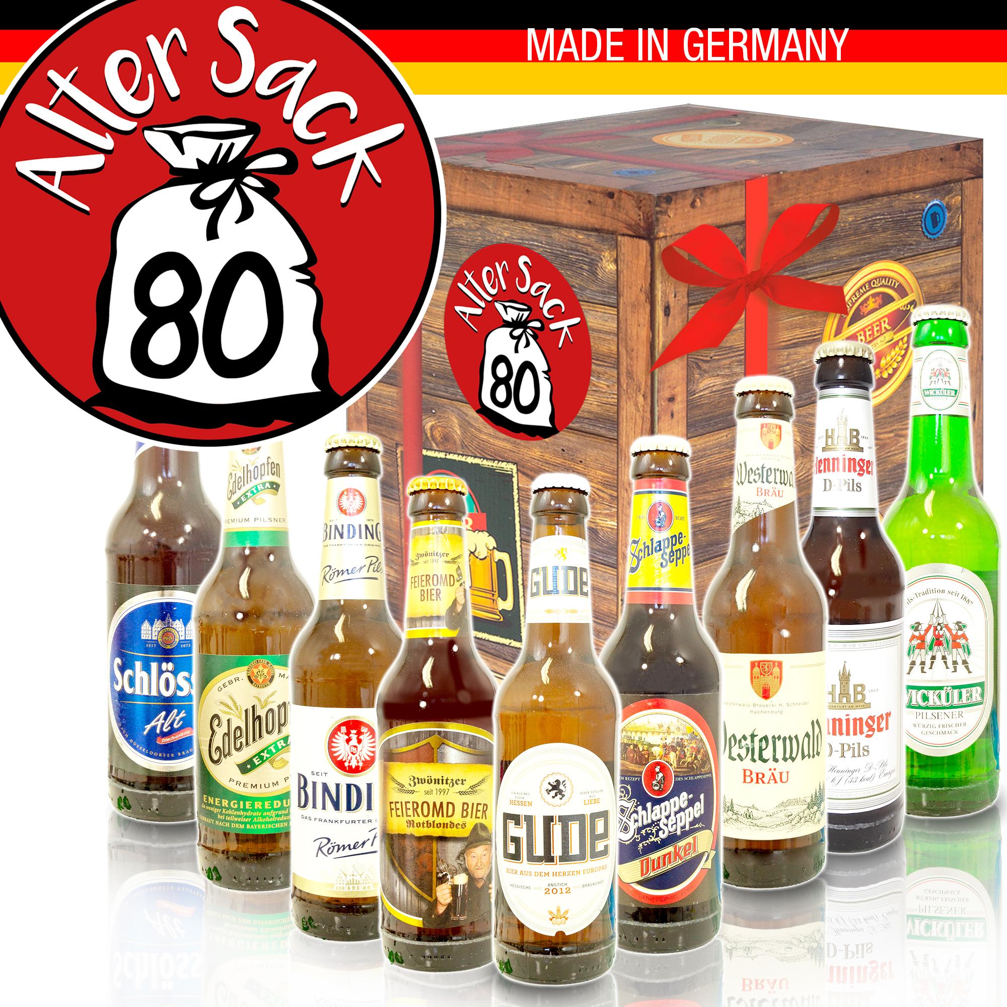 Alter Sack 80 | Geschenkbox Männer | Bierset mit deutschem Bier